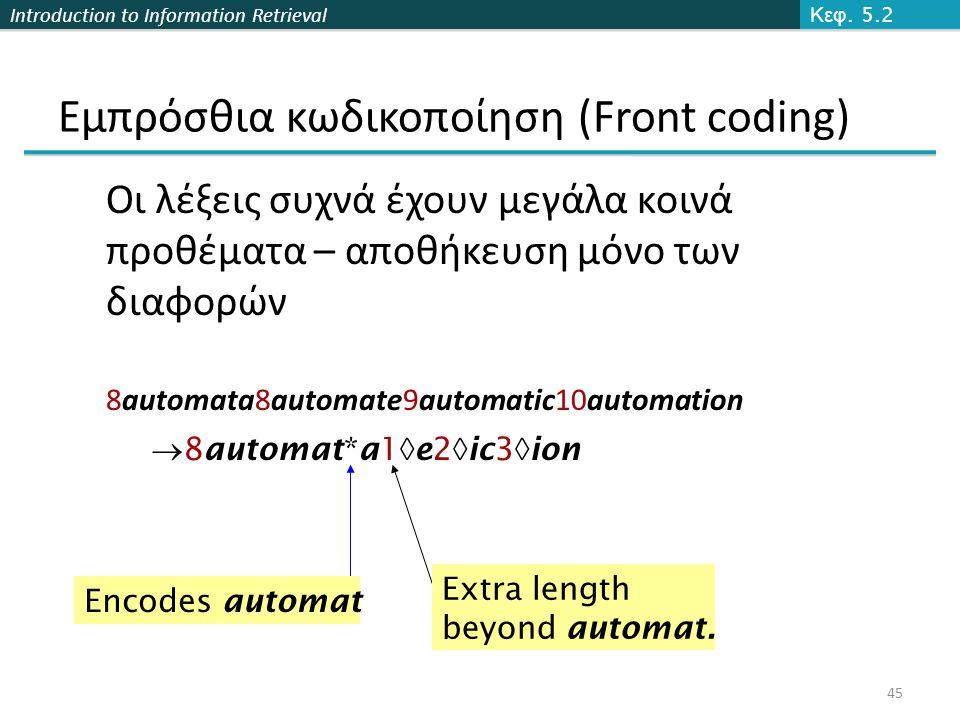 Introduction to Information Retrieval Εμπρόσθια κωδικοποίηση (Front coding) Οι λέξεις συχνά έχουν μεγάλα κοινά προθέματα – αποθήκευση μόνο των διαφορών 8automata8automate9automatic10automation  8automat*a1  e2  ic3  ion Encodes automat Extra length beyond automat.