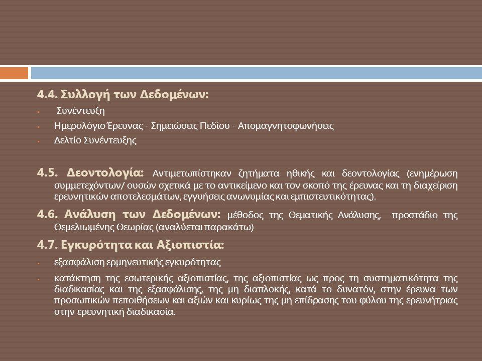 4.4. Συλλογή των Δεδομένων:  Συνέντευξη  Ημερολόγιο Έρευνας - Σημειώσεις Πεδίου - Απομαγνητοφωνήσεις  Δελτίο Συνέντευξης 4.5. Δεοντολογία: Αντιμετω