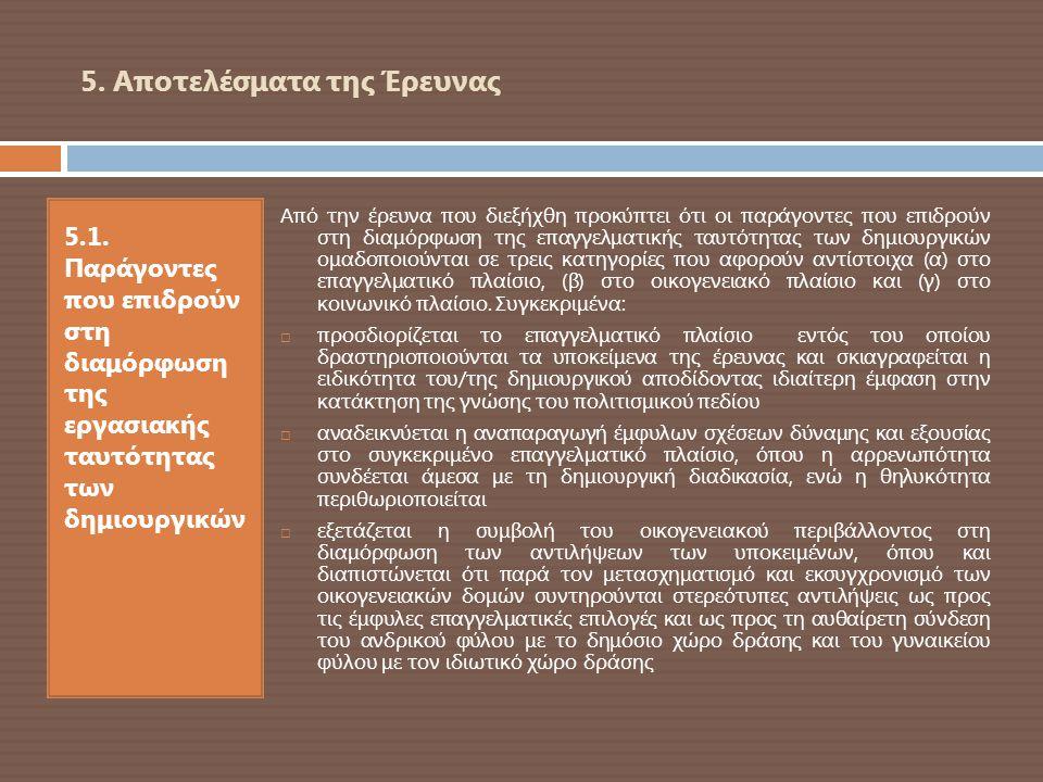 5. Αποτελέσματα της Έρευνας 5.1. Παράγοντες που επιδρούν στη διαμόρφωση της εργασιακής ταυτότητας των δημιουργικών Από την έρευνα που διεξήχθη προκύπτ