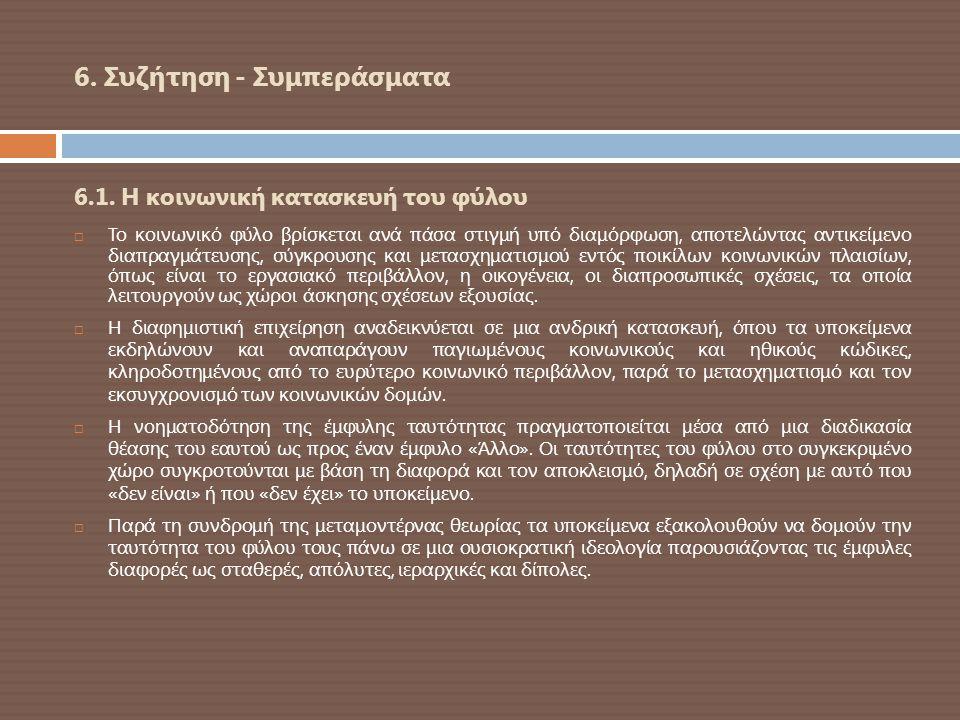 6. Συζήτηση - Συμπεράσματα 6.1. Η κοινωνική κατασκευή του φύλου  Το κοινωνικό φύλο βρίσκεται ανά πάσα στιγμή υπό διαμόρφωση, αποτελώντας αντικείμενο