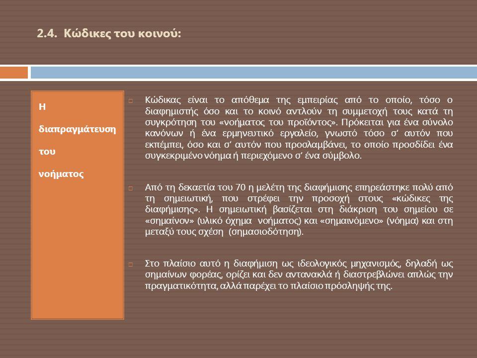 2.4. Κώδικες του κοινού: Η διαπραγμάτευση του νοήματος  Κώδικας είναι το απόθεμα της εμπειρίας από το οποίο, τόσο ο διαφημιστής όσο και το κοινό αντλ