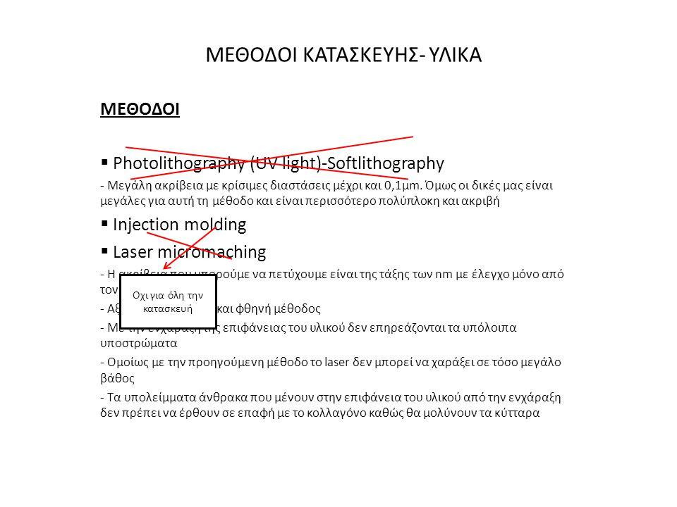ΜΕΘΟΔΟΙ ΚΑΤΑΣΚΕΥΗΣ- ΥΛΙΚΑ ΜΕΘΟΔΟΙ  Photolithography (UV light)-Softlithography - Μεγάλη ακρίβεια με κρίσιμες διαστάσεις μέχρι και 0,1μm. Όμως οι δικέ