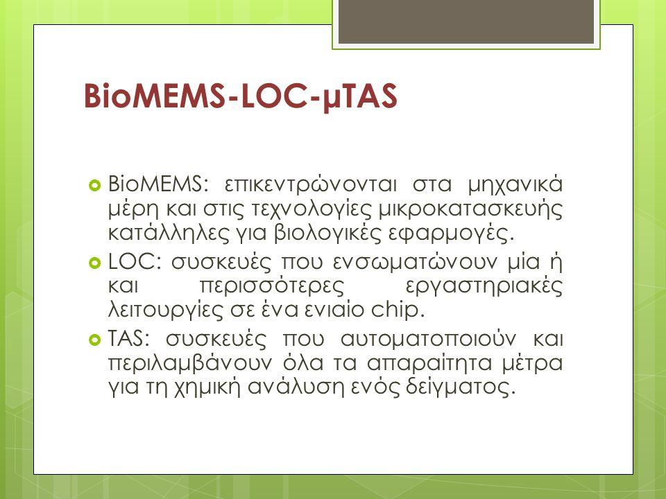 BioMEMS-LOC-μTAS  BioMEMS: επικεντρώνονται στα μηχανικά μέρη και στις τεχνολογίες μικροκατασκευής κατάλληλες για βιολογικές εφαρμογές.  LOC: συσκευέ
