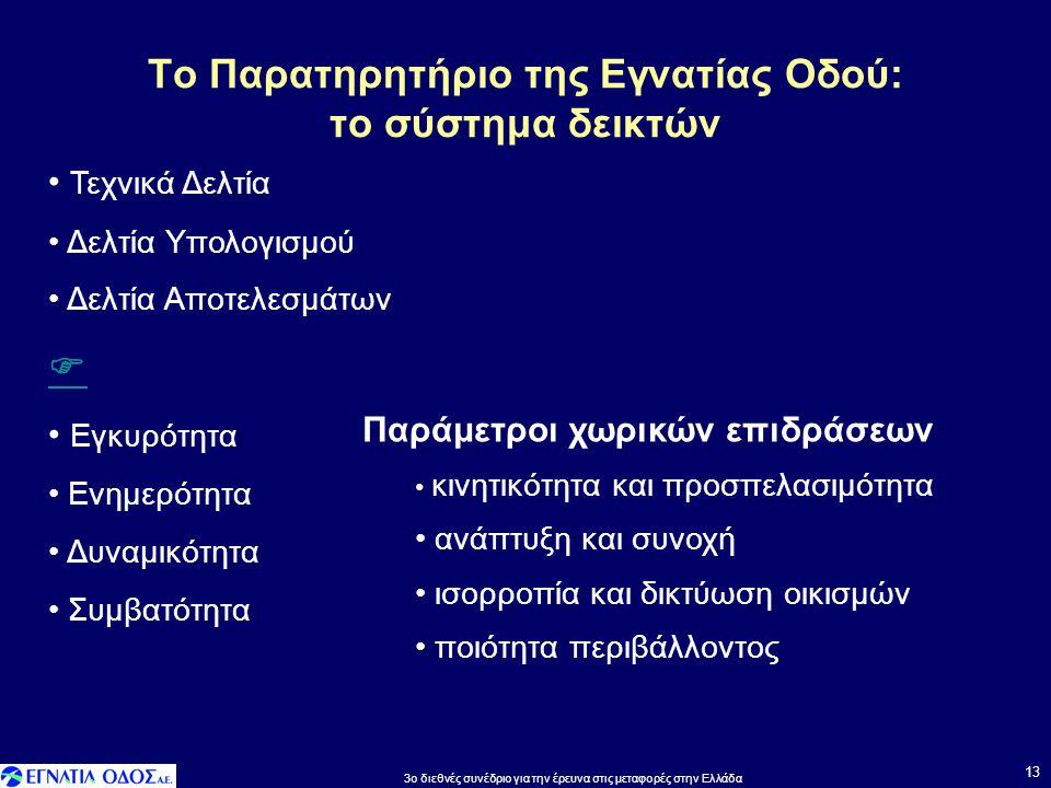 Το Παρατηρητήριο της Εγνατίας Οδού: το σύστημα δεικτών 13 • Τεχνικά Δελτία • Δελτία Υπολογισμού • Δελτία Αποτελεσμάτων  • Εγκυρότητα • Ενημερότητα •