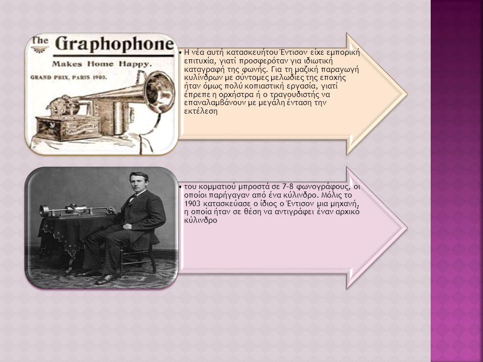 Το 1886 πρότεινε ο Emile Berliner (Μπερλίνερ, 1851-1929), Αμερικάνος από το Ανόβερο της Γερμανίας, να αντικατασταθεί ο κύλινδρος με «αυλάκι ήχου» του Έντισον, με μία επίπεδη πλάκα όπου, μετά από διάφορες βελτιώσεις, μία ελικοειδής διαδρομή σχημάτιζε ένα συνολικό αυλάκι σε όλη την επιφάνεια της πλάκας και η βελόνα έκανε ταλαντώσεις, εγκάρσια στην κίνηση.