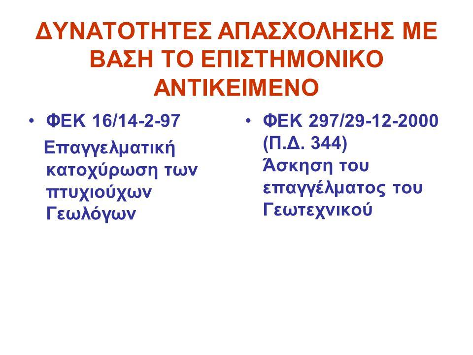 ΔΥΝΑΤΟΤΗΤΕΣ ΑΠΑΣΧΟΛΗΣΗΣ ΜΕ ΒΑΣΗ ΤΟ ΕΠΙΣΤΗΜΟΝΙΚΟ ΑΝΤΙΚΕΙΜΕΝΟ •ΦΕΚ 16/14-2-97 Επαγγελματική κατοχύρωση των πτυχιούχων Γεωλόγων •ΦΕΚ 297/29-12-2000 (Π.Δ.