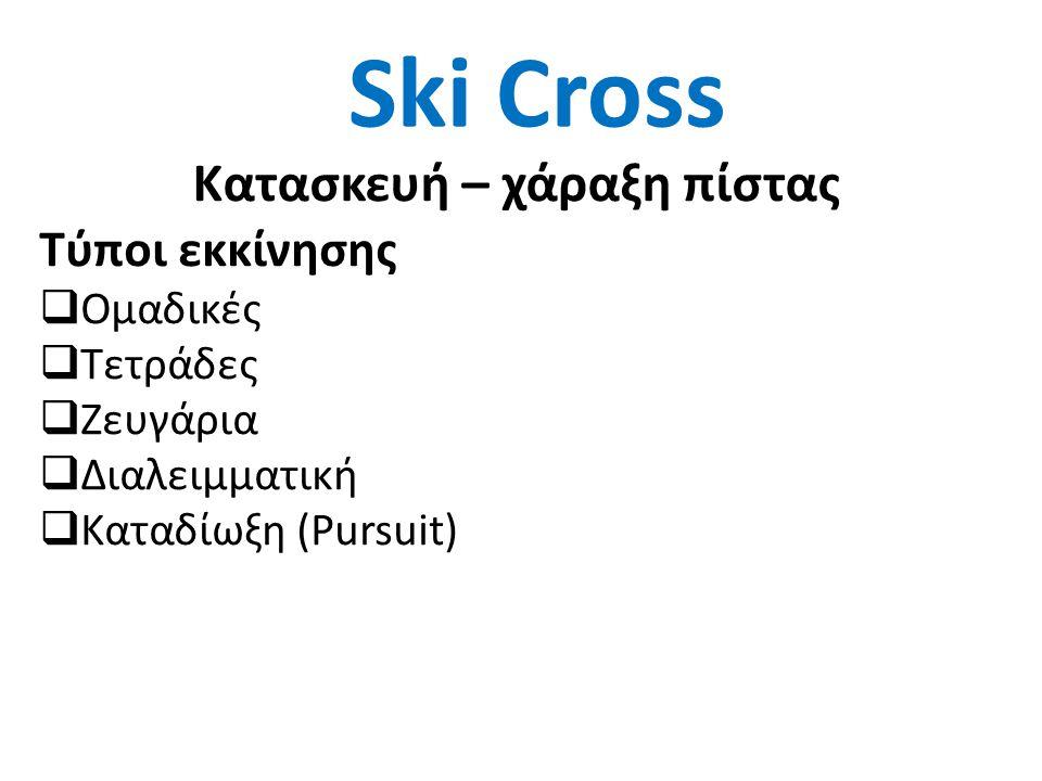 Ski Cross Κατασκευή – χάραξη πίστας Τύποι εκκίνησης  Ομαδικές  Τετράδες  Ζευγάρια  Διαλειμματική  Καταδίωξη (Pursuit)
