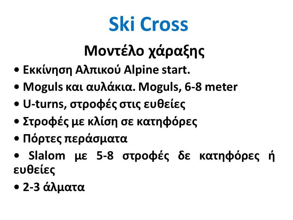 Ski Cross Μοντέλο χάραξης • Εκκίνηση Αλπικού Alpine start. • Moguls και αυλάκια. Μoguls, 6-8 meter • U-turns, στροφές στις ευθείες • Στροφές με κλίση