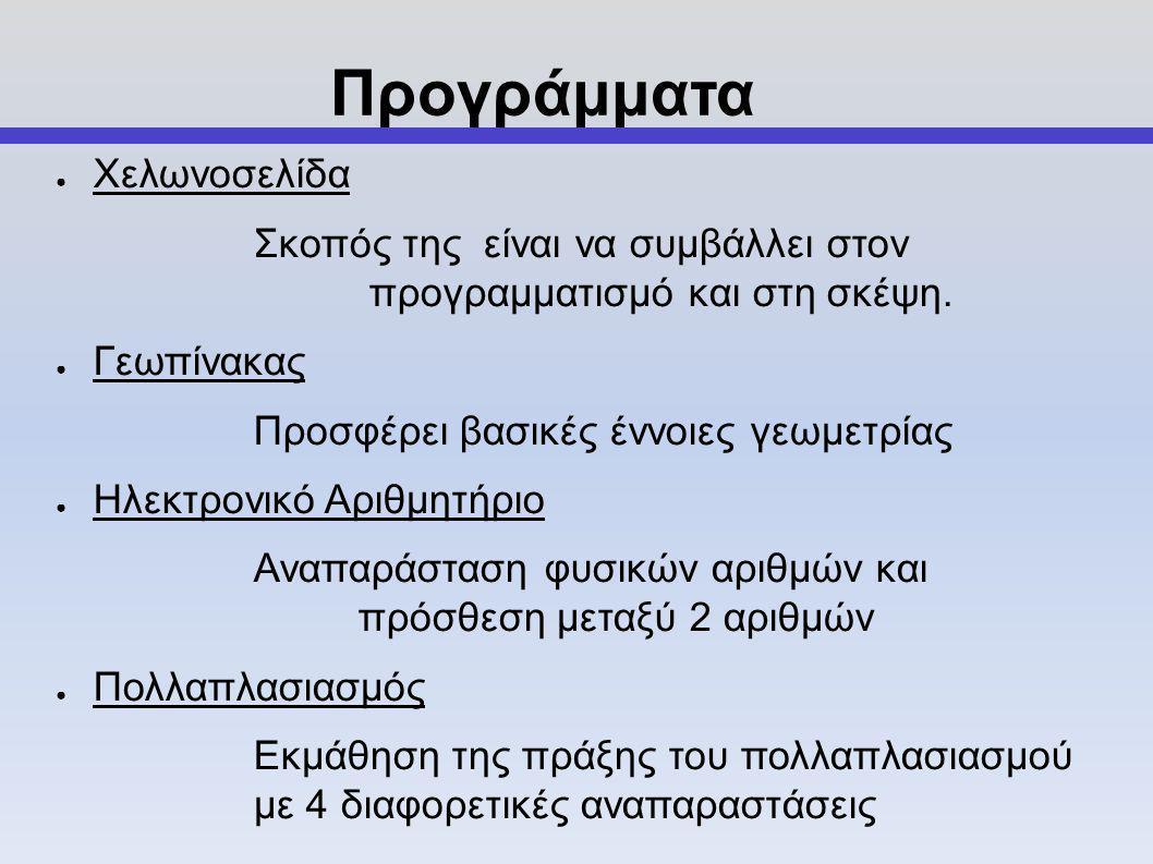 ● Χελωνοσελίδα Σκοπός της είναι να συμβάλλει στον προγραμματισμό και στη σκέψη.