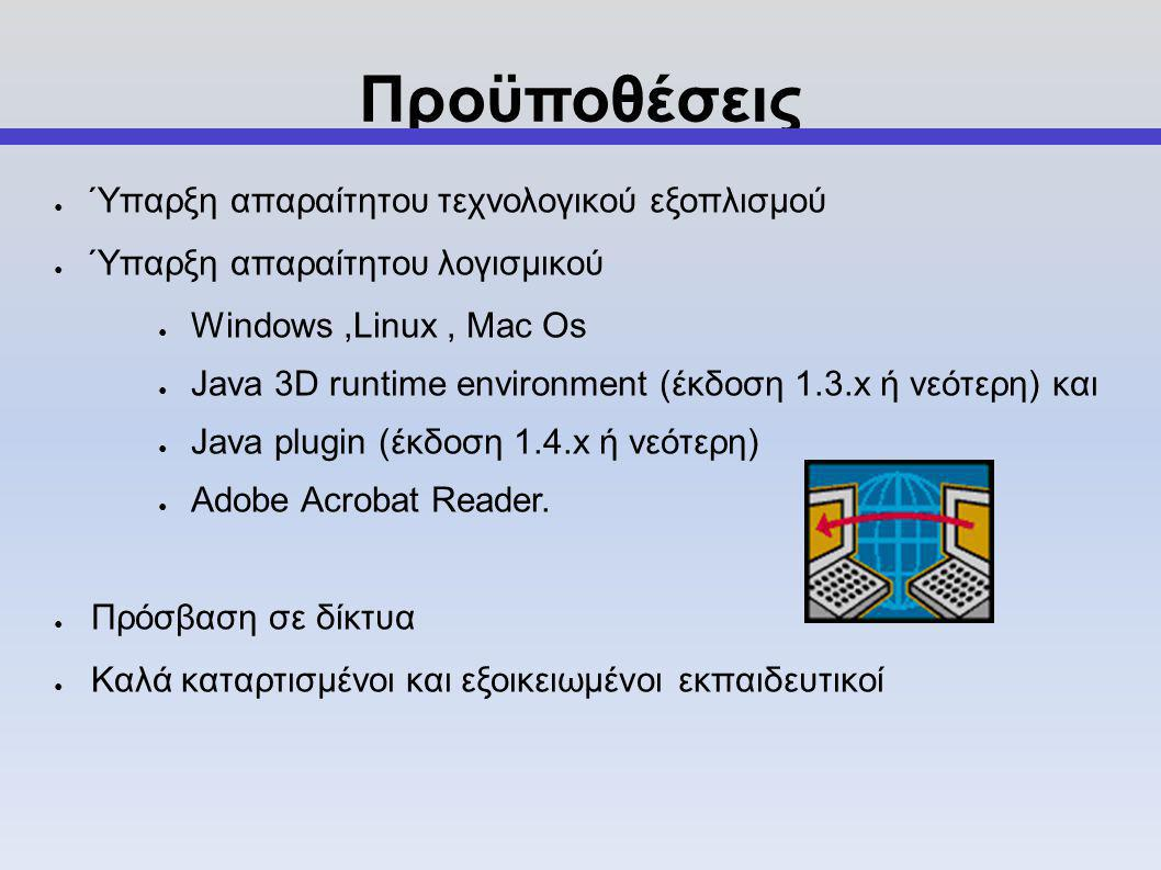 Προϋποθέσεις ● Ύπαρξη απαραίτητου τεχνολογικού εξοπλισμού ● Ύπαρξη απαραίτητου λογισμικού ● Windows,Linux, Mac Os ● Java 3D runtime environment (έκδοση 1.3.x ή νεότερη) και ● Java plugin (έκδοση 1.4.x ή νεότερη) ● Adobe Acrobat Reader.