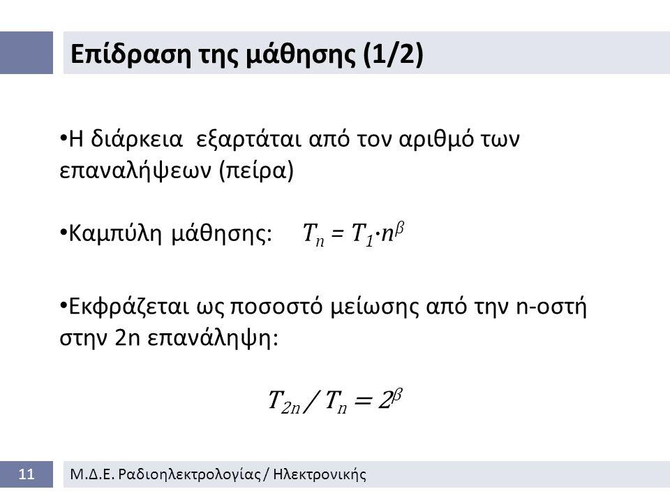 Επίδραση της μάθησης (1/2) 11Μ.Δ.Ε.