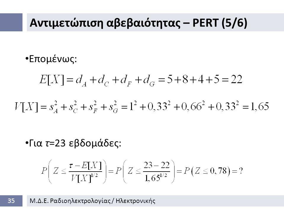 Αντιμετώπιση αβεβαιότητας – PERT (5/6) 35Μ.Δ.Ε.