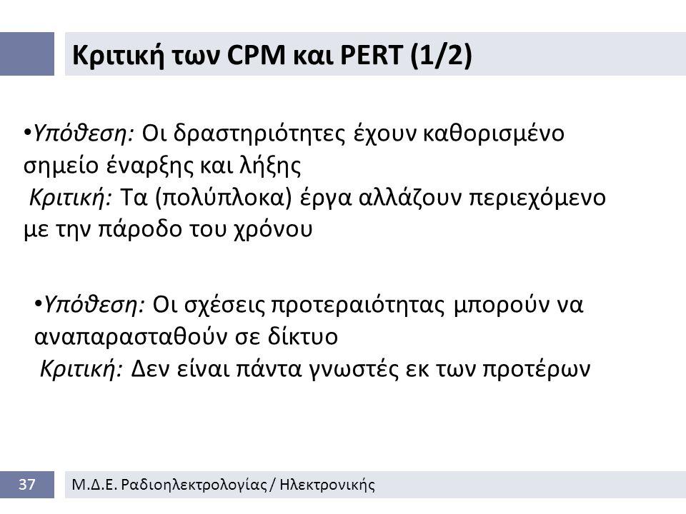 Κριτική των CPM και PERT (1/2) 37Μ.Δ.Ε.