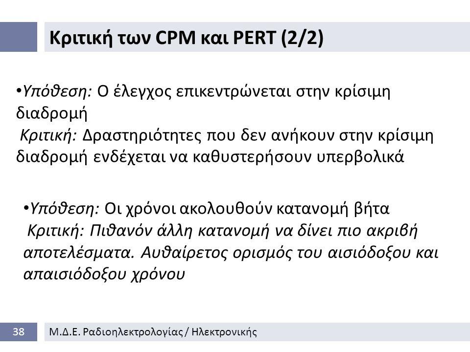 Κριτική των CPM και PERT (2/2) 38Μ.Δ.Ε.