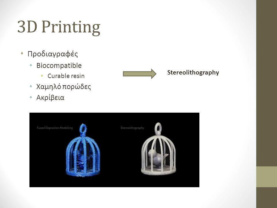 3D Printing • Αναδυόμενη χρήση σε πολλές εφαρμογές • Υψηλή ακρίβεια σε προσιτή τιμή • 3D δομές • Ικανότητα κατασκευής device με μία κατεργασία • Biocompatible materials • Διαθέσιμες μέθοδοι • FDM (thermoplastic materials) • Granular Material Binding / SLS • Stereolithography