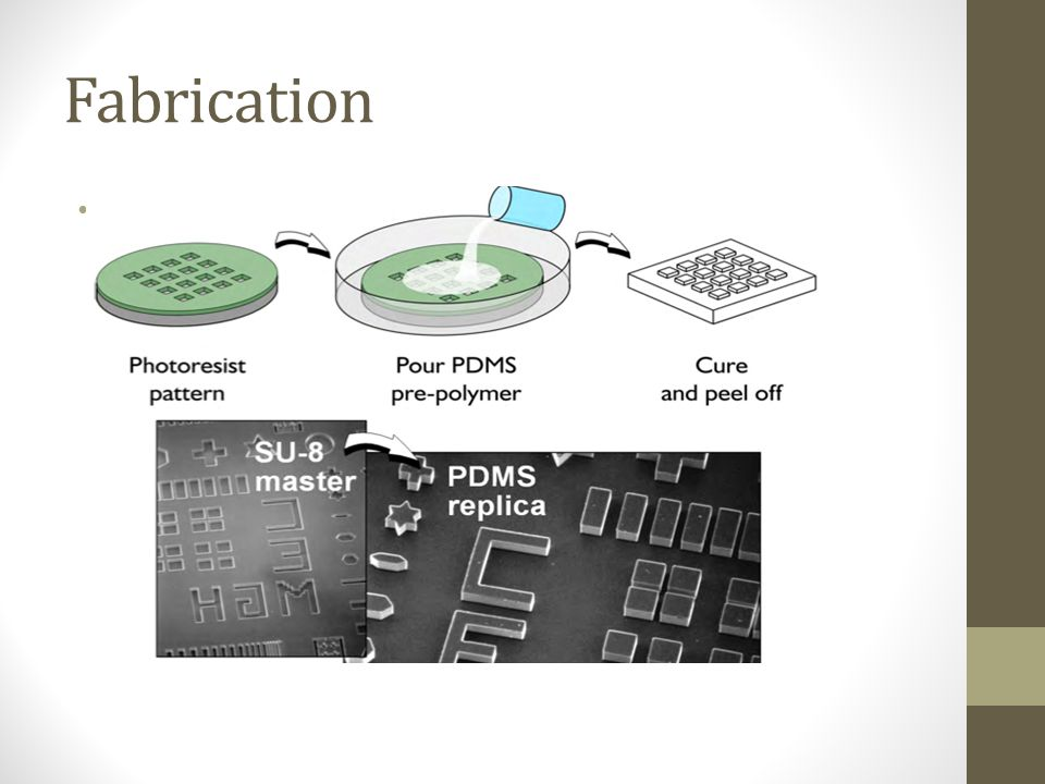 Fabrication • Laser cutting • Melting plastic • Low cost microfluidic devices by various companies • Limited resolution • 2D