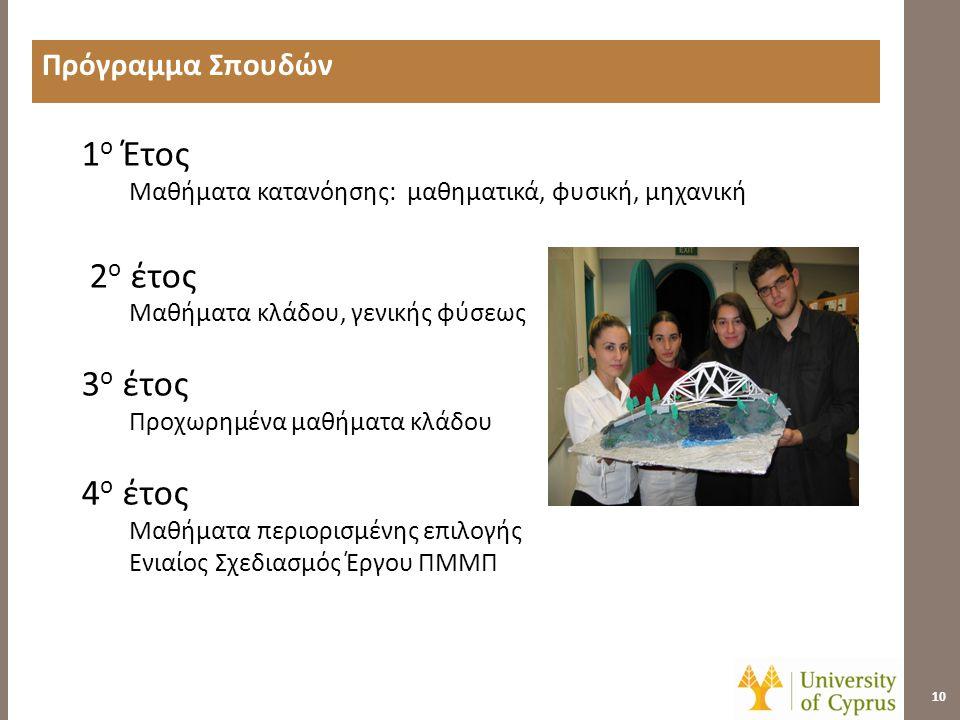 Πρόγραμμα Σπουδών (1 ο Έτος) 11