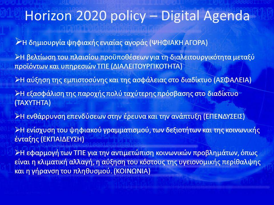 Horizon 2020 policy – Digital Agenda  Η δημιουργία ψηφιακής ενιαίας αγοράς (ΨΗΦΙΑΚΗ ΑΓΟΡΑ)  Η βελτίωση του πλαισίου προϋποθέσεων για τη διαλειτουργικότητα μεταξύ προϊόντων και υπηρεσιών ΤΠΕ (ΔΙΑΛΕΙΤΟΥΡΓΙΚΟΤΗΤΑ)  Η αύξηση της εμπιστοσύνης και της ασφάλειας στο διαδίκτυο (ΑΣΦΑΛΕΙΑ)  Η εξασφάλιση της παροχής πολύ ταχύτερης πρόσβασης στο διαδίκτυο (ΤΑΧΥΤΗΤΑ)  Η ενθάρρυνση επενδύσεων στην έρευνα και την ανάπτυξη (ΕΠΕΝΔΥΣΕΙΣ)  Η ενίσχυση του ψηφιακού γραμματισμού, των δεξιοτήτων και της κοινωνικής ένταξης (ΕΚΠΑΙΔΕΥΣΗ)  Η εφαρμογή των ΤΠΕ για την αντιμετώπιση κοινωνικών προβλημάτων, όπως είναι η κλιματική αλλαγή, η αύξηση του κόστους της υγειονομικής περίθαλψης και η γήρανση του πληθυσμού.