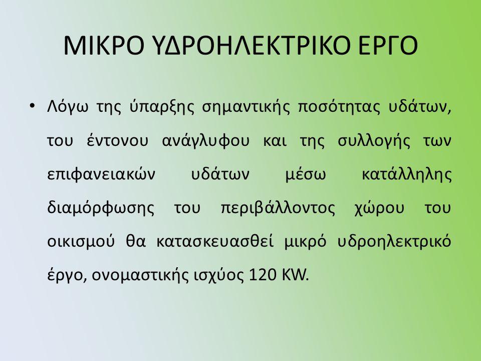 ΜΙΚΡΟ ΥΔΡΟΗΛΕΚΤΡΙΚΟ ΕΡΓΟ • Λόγω της ύπαρξης σημαντικής ποσότητας υδάτων, του έντονου ανάγλυφου και της συλλογής των επιφανειακών υδάτων μέσω κατάλληλης διαμόρφωσης του περιβάλλοντος χώρου του οικισμού θα κατασκευασθεί μικρό υδροηλεκτρικό έργο, ονομαστικής ισχύος 120 KW.