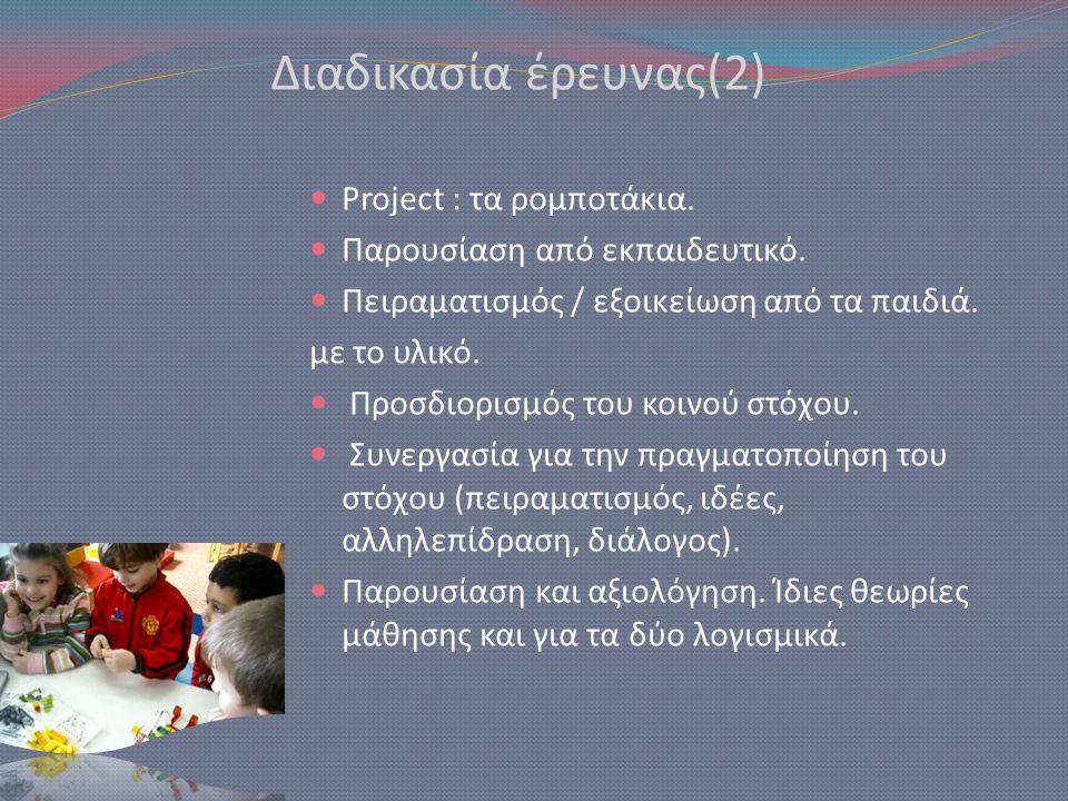 Διαδικασία έρευνας(2)  Project : τα ρομποτάκια.  Παρουσίαση από εκπαιδευτικό.  Πειραματισμός / εξοικείωση από τα παιδιά. με το υλικό.  Προσδιορισμ