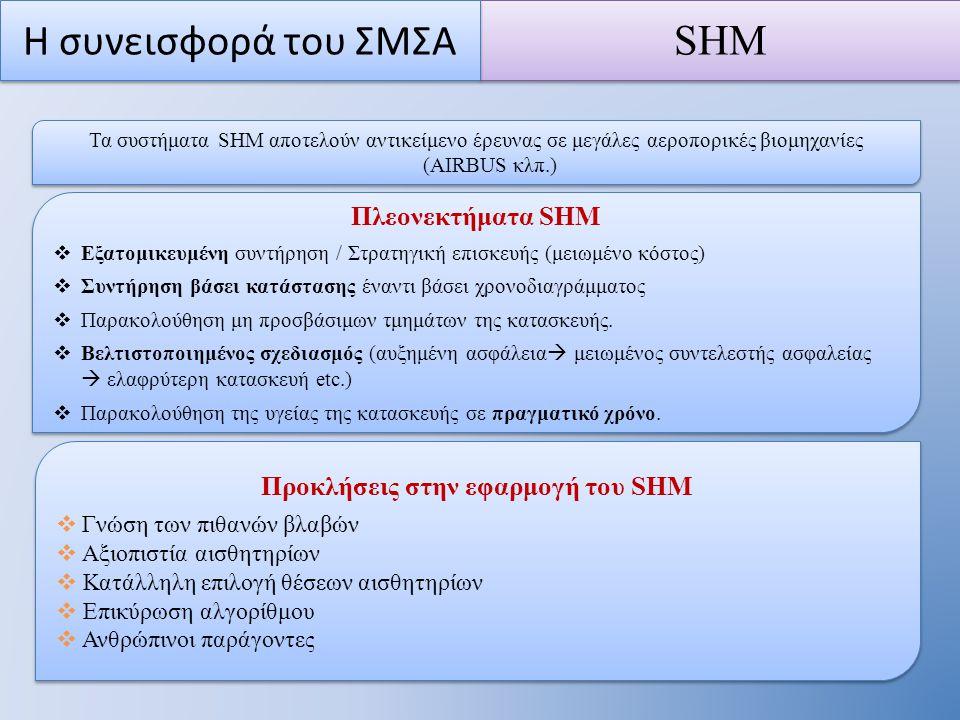 Πλεονεκτήματα SHM  Εξατομικευμένη συντήρηση / Στρατηγική επισκευής (μειωμένο κόστος)  Συντήρηση βάσει κατάστασης έναντι βάσει χρονοδιαγράμματος  Παρακολούθηση μη προσβάσιμων τμημάτων της κατασκευής.