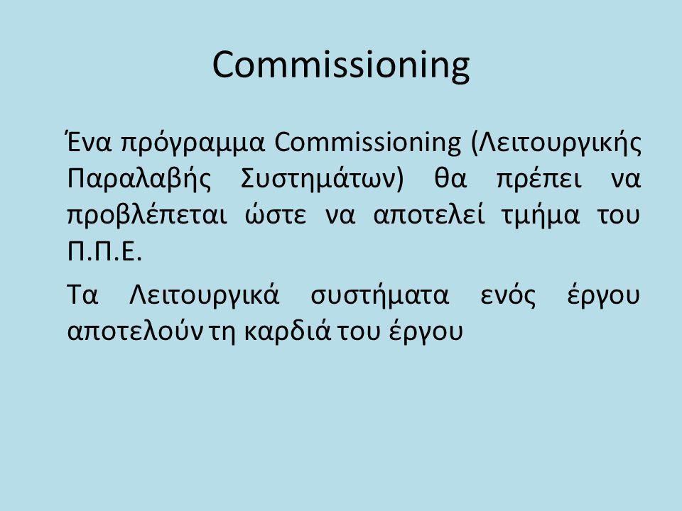 Commissioning Ένα πρόγραμμα Commissioning (Λειτουργικής Παραλαβής Συστημάτων) θα πρέπει να προβλέπεται ώστε να αποτελεί τμήμα του Π.Π.Ε. Τα Λειτουργικ