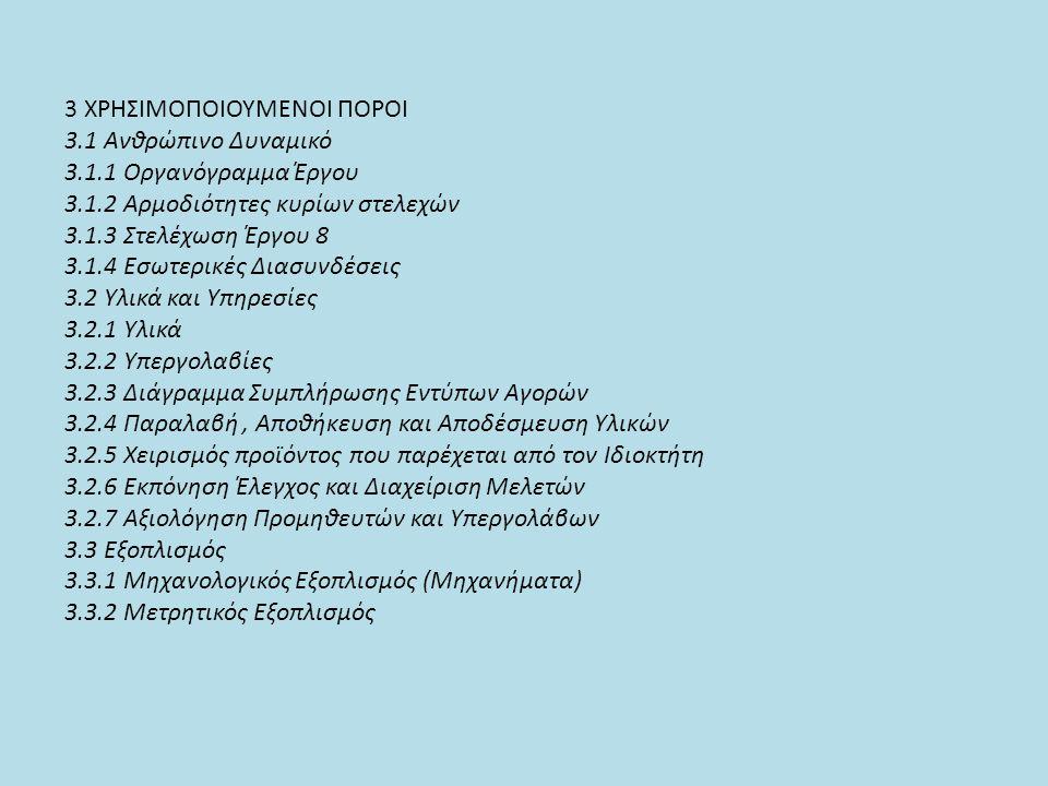 3 ΧΡΗΣΙΜΟΠΟΙΟΥΜΕΝΟΙ ΠΟΡΟΙ 3.1 Ανθρώπινο Δυναμικό 3.1.1 Οργανόγραμμα Έργου 3.1.2 Αρμοδιότητες κυρίων στελεχών 3.1.3 Στελέχωση Έργου 8 3.1.4 Εσωτερικές