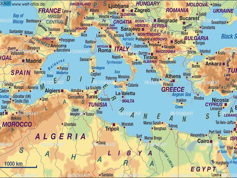 Μεσόγειος θάλασσα  Σχεδόν κλειστή θάλασσα.