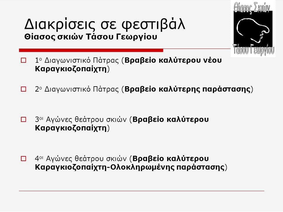Διακρίσεις σε φεστιβάλ Θίασος σκιών Τάσου Γεωργίου  1 ο Διαγωνιστικό Πάτρας (Βραβείο καλύτερου νέου Καραγκιοζοπαίχτη)  2 ο Διαγωνιστικό Πάτρας (Βραβ