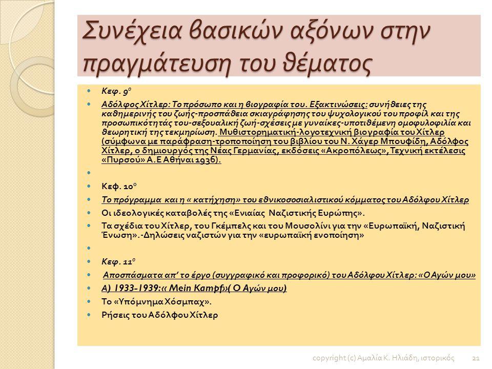 Συνέχεια βασικών αξόνων στην πραγμάτευση του θέματος  Κεφ. 8 ο  Συνοπτική βιογραφία του Αδόλφου Χίτλερ  Βιογραφία  Τα πρώτα χρόνια  Καταγωγή  Τα