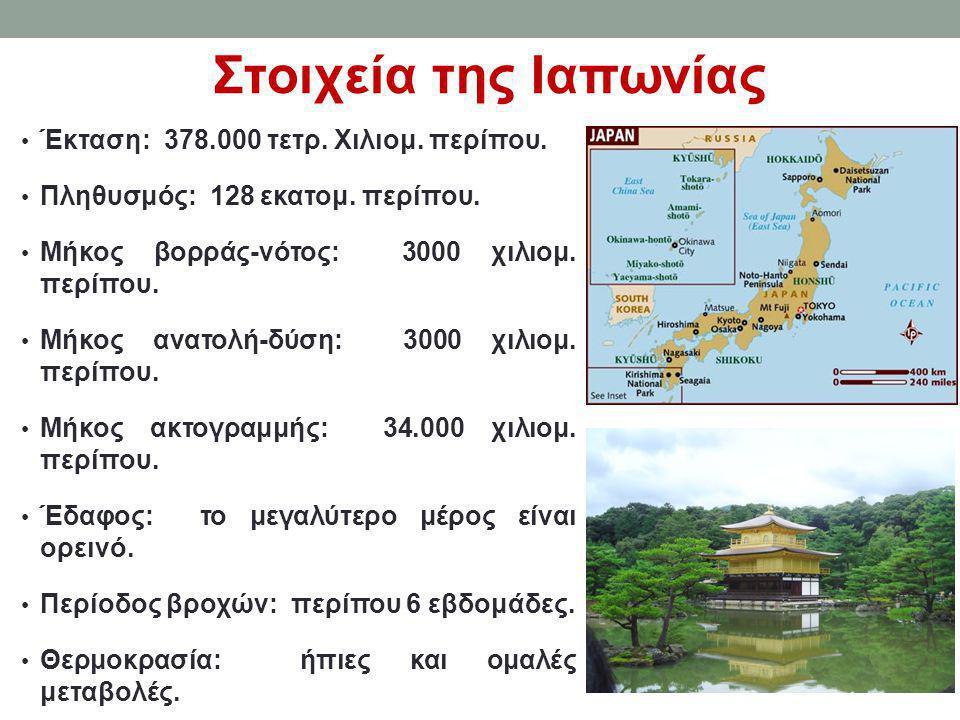 Στοιχεία της Ιαπωνίας • Έκταση: 378.000 τετρ. Χιλιομ. περίπου. • Πληθυσμός: 128 εκατομ. περίπου. • Μήκος βορράς-νότος: 3000 χιλιομ. περίπου. • Μήκος α