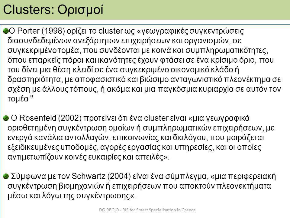 DG REGIO - RIS for Smart Specialisation in Greece Clusters: Ορισμοί Ο Porter (1998) ορίζει το cluster ως «γεωγραφικές συγκεντρώσεις διασυνδεδεμένων ανεξάρτητων επιχειρήσεων και οργανισμών, σε συγκεκριμένο τομέα, που συνδέονται με κοινά και συμπληρωματικότητες, όπου επαρκείς πόροι και ικανότητες έχουν φτάσει σε ένα κρίσιμο όριο, που του δίνει μια θέση κλειδί σε ένα συγκεκριμένο οικονομικό κλάδο ή δραστηριότητα, με αποφασιστικό και βιώσιμο ανταγωνιστικό πλεονέκτημα σε σχέση με άλλους τόπους, ή ακόμα και μια παγκόσμια κυριαρχία σε αυτόν τον τομέα Ο Rosenfeld (2002) προτείνει ότι ένα cluster είναι «μια γεωγραφικά οριοθετημένη συγκέντρωση ομοίων ή συμπληρωματικών επιχειρήσεων, με ενεργά κανάλια ανταλλαγών, επικοινωνίας και διαλόγου, που μοιράζεται εξειδικευμένες υποδομές, αγορές εργασίας και υπηρεσίες, και οι οποίες αντιμετωπίζουν κοινές ευκαιρίες και απειλές».