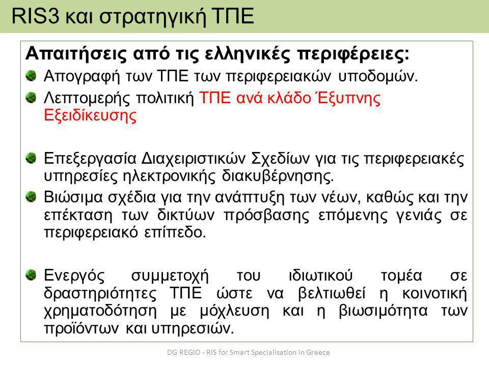 Απαιτήσεις από τις ελληνικές περιφέρειες: Απογραφή των ΤΠΕ των περιφερειακών υποδομών.