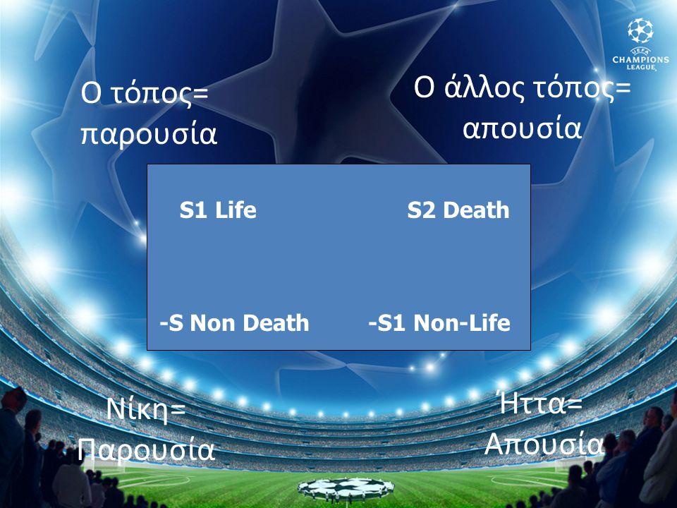 Ο τόπος= παρουσία Ο άλλος τόπος= απουσία Νίκη= Παρουσία Ήττα= Απουσία S1 Life -S Non Death S2 Death -S1 Non-Life