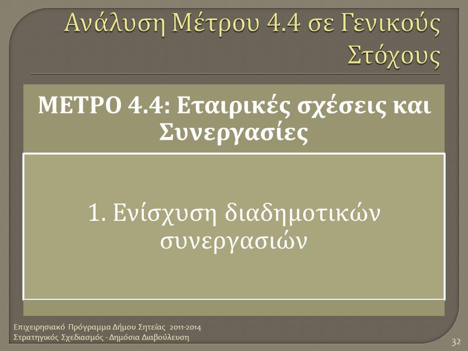 ΜΕΤΡΟ 4.4: Εταιρικές σχέσεις και Συνεργασίες 1. Ενίσχυση διαδημοτικών συνεργασιών Επιχειρησιακό Πρόγραμμα Δήμου Σητείας 2011-2014 Στρατηγικός Σχεδιασμ
