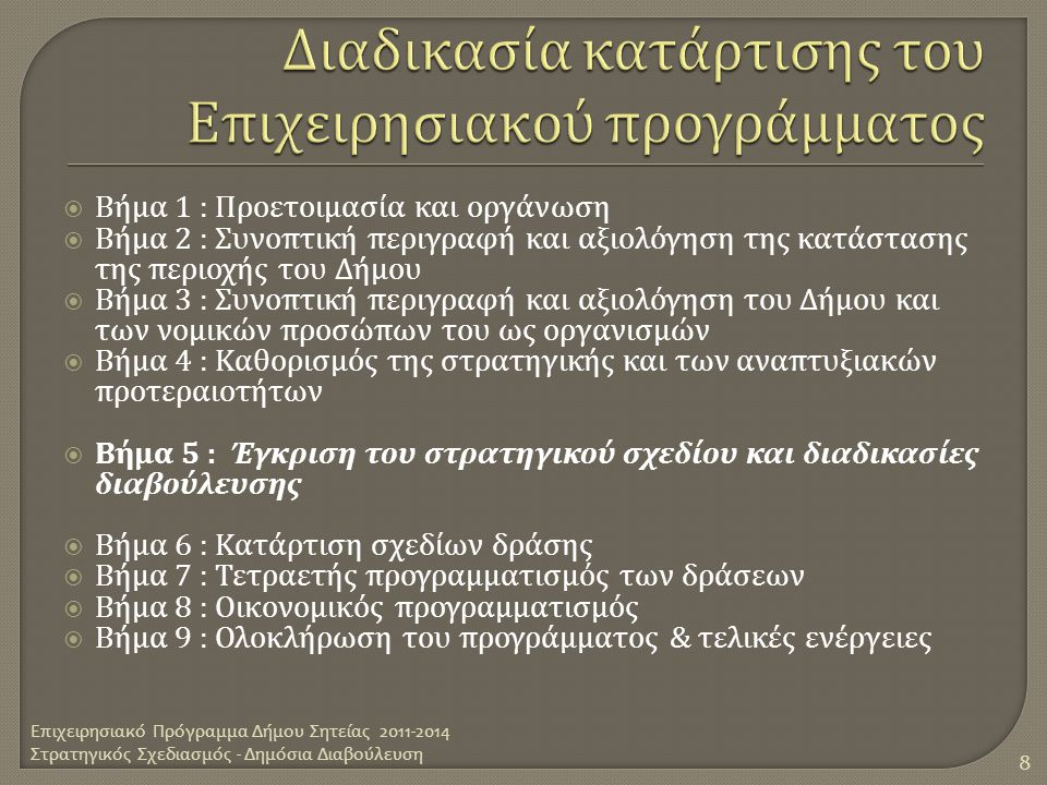  Βήμα 1 : Προετοιμασία και οργάνωση  Βήμα 2 : Συνοπτική περιγραφή και αξιολόγηση της κατάστασης της περιοχής του Δήμου  Βήμα 3 : Συνοπτική περιγραφ
