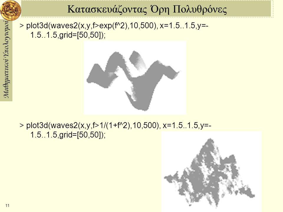 Μαθηματικοί Υπολογισμοί 11 Κατασκευάζοντας Όρη Πολυθρόνες > plot3d(waves2(x,y,f>exp(f^2),10,500), x=1.5..1.5,y= 1.5..1.5,grid=[50,50]); > plot3d(w