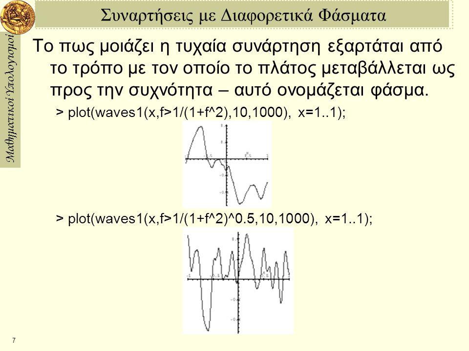 Μαθηματικοί Υπολογισμοί 8 Λευκά Παράσιτα Όταν το πλάτος είναι ανεξάρτητο της συχνότητας (επίπεδο φάσμα), καταλήγουμε σε αυτό που ονομάζουμε λευκό παράσιτο: > plot(waves1(x,f>1,10,1000), x=1..1); Για πραγματικά λευκά παράσιτα, δεν υπάρχει άνω φράγμα για την συχνότητα, αλλά στην περίπτωση αυτή δεν μπορούμε να τα σχεδιάσουμε.