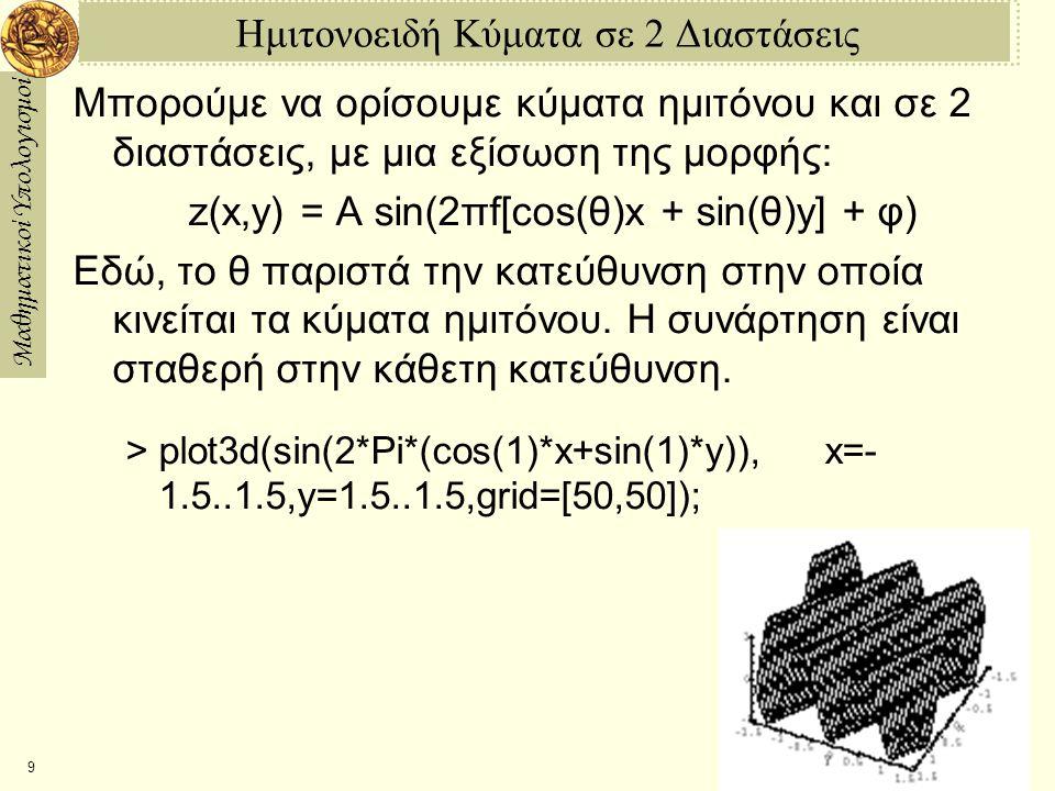 Μαθηματικοί Υπολογισμοί 9 Ημιτονοειδή Κύματα σε 2 Διαστάσεις Μπορούμε να ορίσουμε κύματα ημιτόνου και σε 2 διαστάσεις, με μια εξίσωση της μορφής: z(x,