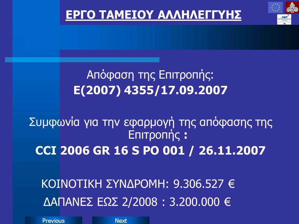 NextPrevious Απόφαση της Επιτροπής: Ε(2007) 4355/17.09.2007 Συμφωνία για την εφαρμογή της απόφασης της Επιτροπής : CCI 2006 GR 16 S PO 001 / 26.11.2007 ΚΟΙΝΟΤΙΚΗ ΣΥΝΔΡΟΜΗ: 9.306.527 € ΔΑΠΑΝΕΣ ΕΩΣ 2/2008 : 3.200.000 € ΕΡΓΟ ΤΑΜΕΙΟΥ ΑΛΛΗΛΕΓΓΥΗΣ