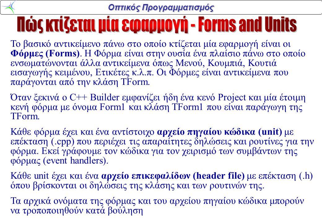 Οπτικός Προγραμματισμός Το βασικό αντικείμενο πάνω στο οποίο κτίζεται μία εφαρμογή είναι οι Φόρμες (Forms). Η Φόρμα είναι στην ουσία ένα πλαίσιο πάνω
