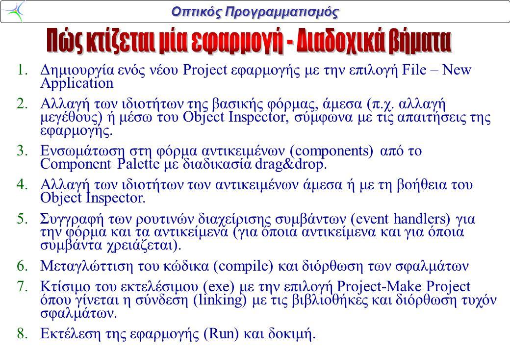 Οπτικός Προγραμματισμός 1.Δημιουργία ενός νέου Project εφαρμογής με την επιλογή File – New Application 2.Αλλαγή των ιδιοτήτων της βασικής φόρμας, άμεσ