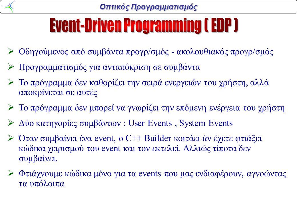 Οπτικός Προγραμματισμός  Οδηγούμενος από συμβάντα προγρ/σμός - ακολουθιακός προγρ/σμός  Προγραμματισμός για ανταπόκριση σε συμβάντα  Το πρόγραμμα δ