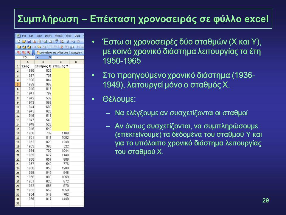 29 Συμπλήρωση – Επέκταση χρονοσειράς σε φύλλο excel •Έστω οι χρονοσειρές δύο σταθμών (Χ και Υ), με κοινό χρονικό διάστημα λειτουργίας τα έτη 1950-1965 •Στο προηγούμενο χρονικό διάστημα (1936- 1949), λειτουργεί μόνο ο σταθμός Χ.