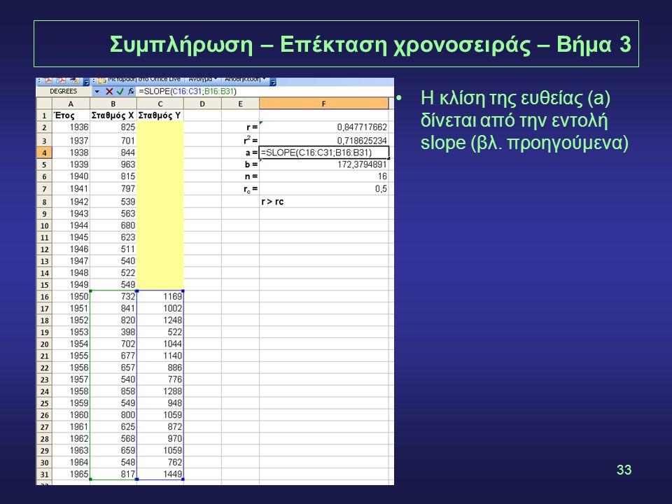 33 Συμπλήρωση – Επέκταση χρονοσειράς – Βήμα 3 •Η κλίση της ευθείας (a) δίνεται από την εντολή slope (βλ.