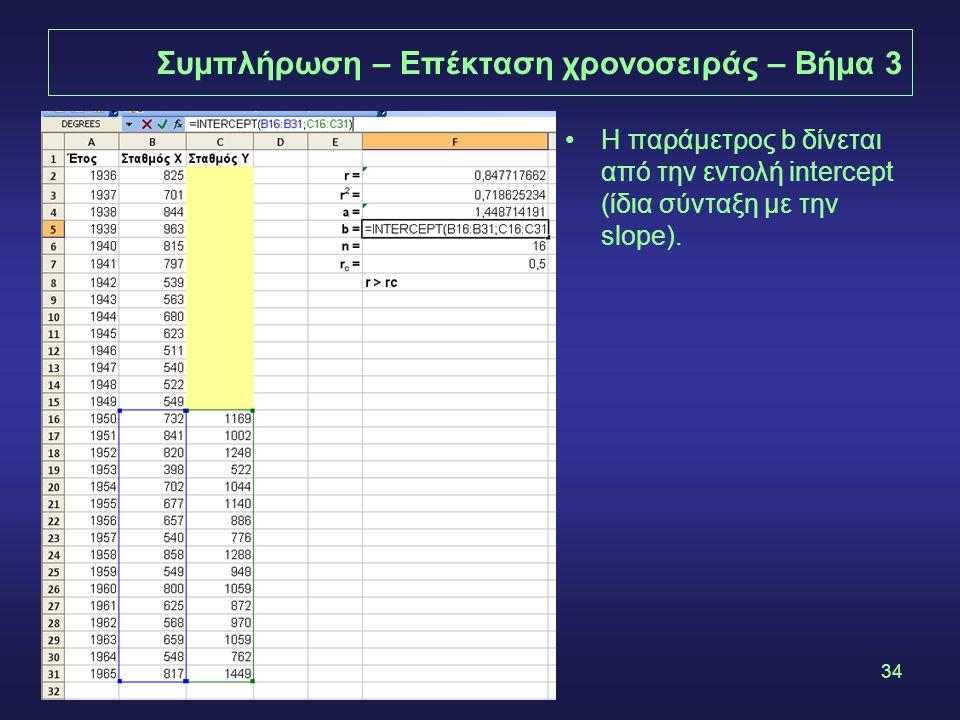 34 Συμπλήρωση – Επέκταση χρονοσειράς – Βήμα 3 •Η παράμετρος b δίνεται από την εντολή intercept (ίδια σύνταξη με την slope).