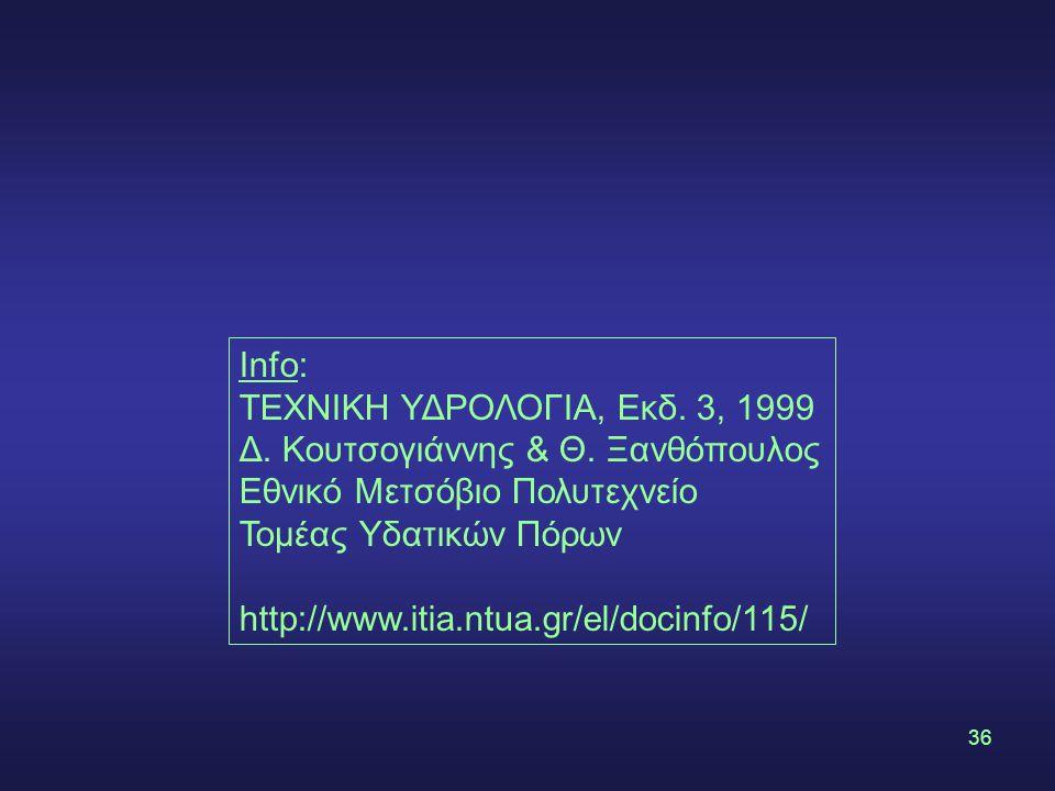 36 Info: ΤΕΧΝΙΚΗ ΥΔΡΟΛΟΓΙΑ, Εκδ.3, 1999 Δ. Κουτσογιάννης & Θ.