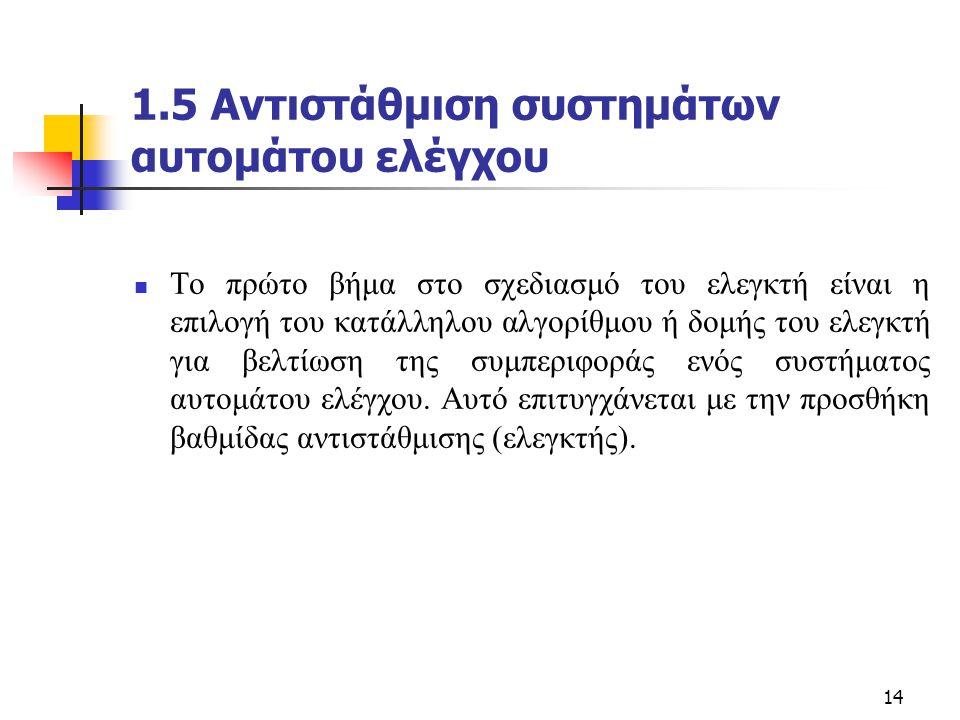 14 1.5 Αντιστάθμιση συστημάτων αυτομάτου ελέγχου  Το πρώτο βήμα στο σχεδιασμό του ελεγκτή είναι η επιλογή του κατάλληλου αλγορίθμου ή δομής του ελεγκ