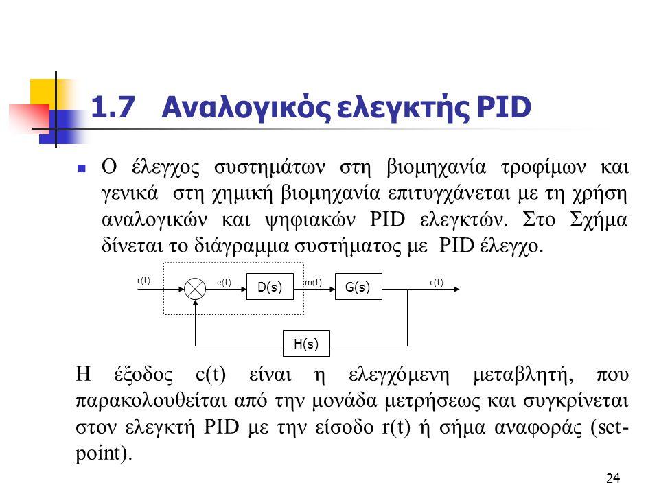 24 1.7 Αναλογικός ελεγκτής PID  O έλεγχος συστημάτων στη βιομηχανία τροφίμων και γενικά στη χημική βιομηχανία επιτυγχάνεται με τη χρήση αναλογικών κα
