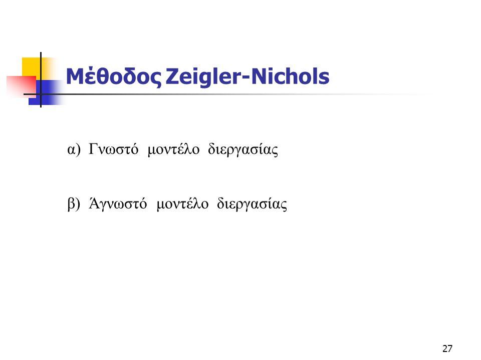 27 Μέθοδος Zeigler-Nichols α) Γνωστό μοντέλο διεργασίας β) Άγνωστό μοντέλο διεργασίας